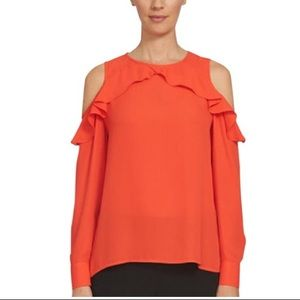 Cece fiery red ruffle cold shoulder top